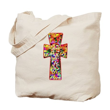 Pretty Stained Glass Look Cross Tote Bag