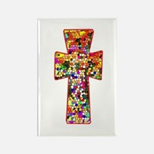 Pretty Stained Glass Look Cross Rectangle Magnet