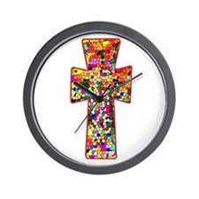 Pretty Stained Glass Look Cross Wall Clock
