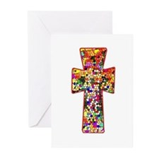 Pretty Stained Glass Look Cross Greeting Cards (Pk