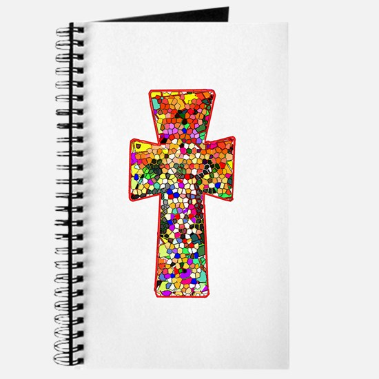 Pretty Stained Glass Look Cross Journal