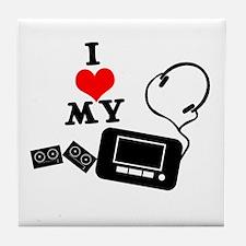 I Heart (Love) My Walkman Tile Coaster
