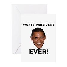 Obama Worst President Ever Greeting Cards (Pk of 2