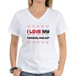 I Love My Financial Analyst Women's V-Neck T-Shirt