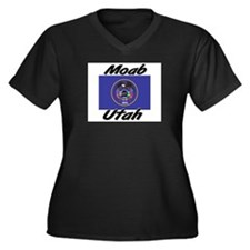 Moab Utah Women's Plus Size V-Neck Dark T-Shirt