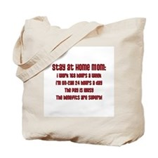 Stay at Home Mom Red Print Tote Bag