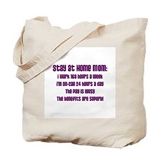 Stay at Home Mom Purple Print Tote Bag
