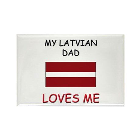 My LATVIAN DAD Loves Me Rectangle Magnet