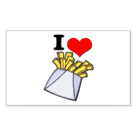 I Heart (love) French Fries Rectangle Sticker