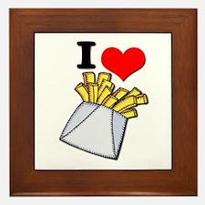 I Heart (love) French Fries Framed Tile