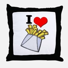 I Heart (love) French Fries Throw Pillow