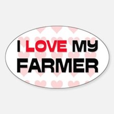 I Love My Farmer Oval Decal