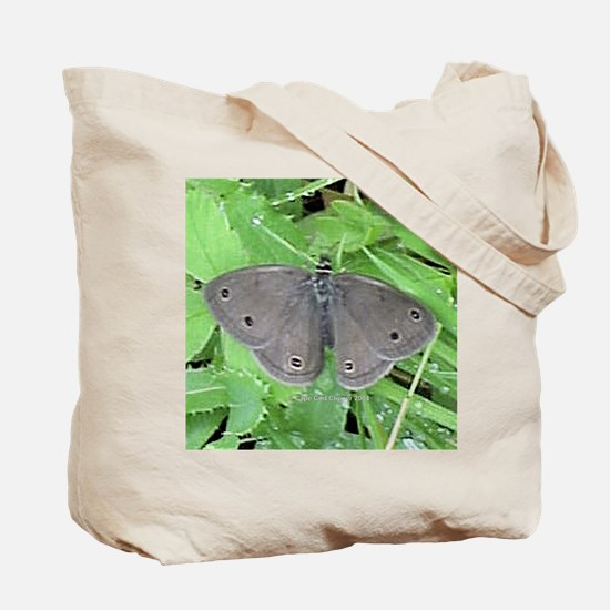 White Cabbage Butterfly ToteBag-Gray Lady on Back