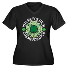 Rub Me For Luck Women's Plus Size V-Neck Dark T-Sh