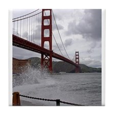 foggy golden gate Tile Coaster
