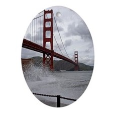 foggy golden gate Oval Ornament