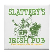 Slattery's Irish Pub Personalized Tile Coaster