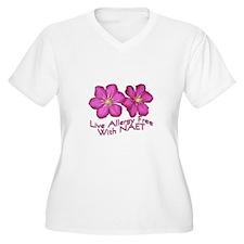 purple flower poster face Plus Size T-Shirt