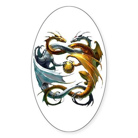 Battle Dragons Oval Sticker