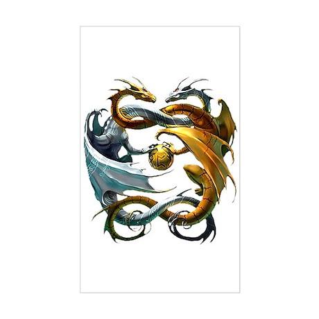 Battle Dragons Rectangle Sticker