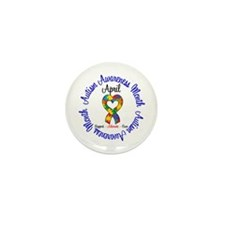 Autism Awareness Ribbon Mini Button (100 pack)