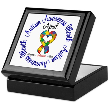 Autism Awareness Ribbon Keepsake Box