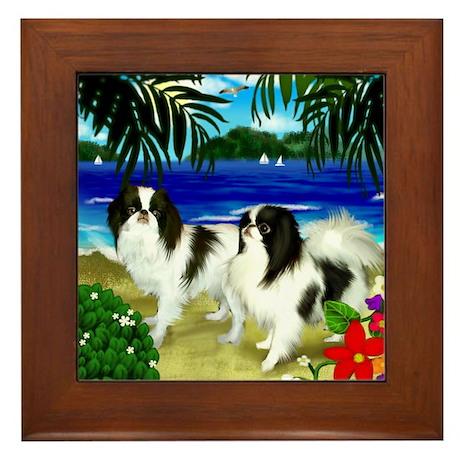 Japanese Chin Dogs Beach Framed Tile