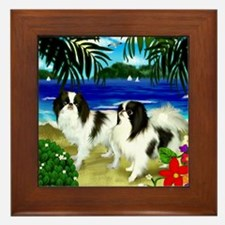 Japanese Chin Dogs Beach Framed Tile
