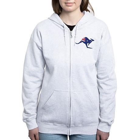 australian flag kangaroo Women's Zip Hoodie