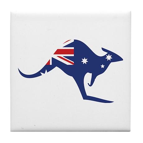 australian flag kangaroo Tile Coaster