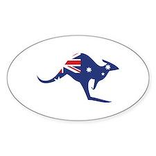 australian flag kangaroo Oval Stickers