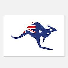 australian flag kangaroo Postcards (Package of 8)