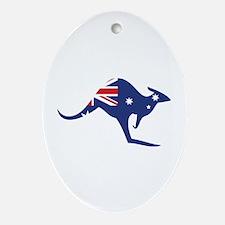 australian flag kangaroo Oval Ornament