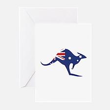 australian flag kangaroo Greeting Cards (Pk of 20)