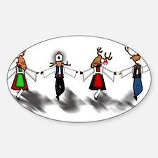 Greek Dancing Reindeer Oval Decal