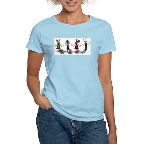 Greek Dancing Reindeer Women's Pink T-Shirt