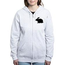 black rabbit icon Zip Hoodie