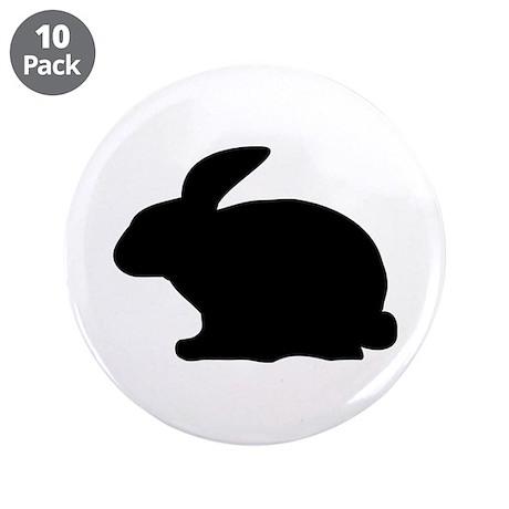"black rabbit icon 3.5"" Button (10 pack)"