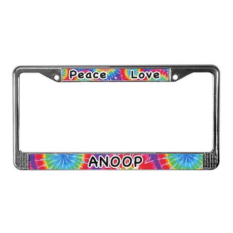 Peace Love Anoop License Plate Frame