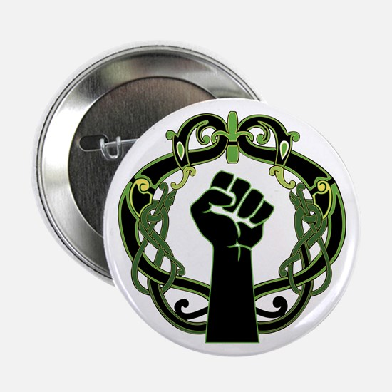 "Celtic Feminist Greenery Black Knotwo 2.25"" Button"