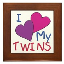 I heart my twins Framed Tile