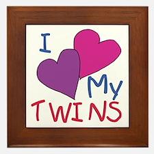 I heart my twins Framed Tile