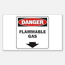 Danger Flame Rectangle Sticker 10 pk)