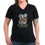 Organic Cleaners Women's V-Neck Dark T-Shirt