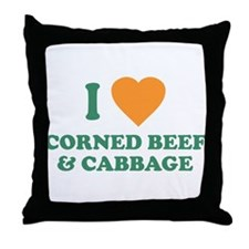 I Love Corned Beef & Cabbage Throw Pillow