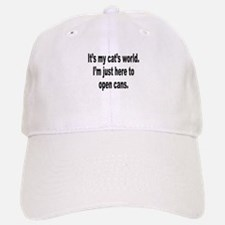 It's A Cat's World Humor Baseball Baseball Cap