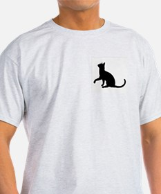 Black Cat Silhouette Ash Grey T-Shirt