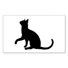 Black Cat Silhouette Rectangle Decal