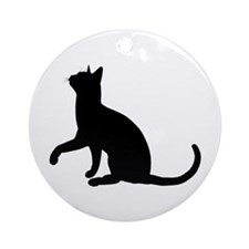 Black Cat Silhouette Ornament (Round)