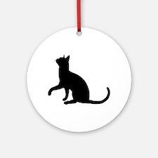 Black Cat Silhouette Ornament (Round)